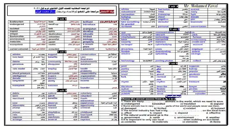 المراجعة الهائية فى اللغة الانجليزية للصف الاول الثانوي الترم الاول 2021 مطابقة للمواصفات اعداد مستر محمد فوزي
