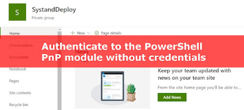 Authenticate to the powershell PnP module without credentials