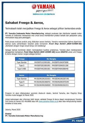 Recall Yamaha Aerox dan Freego
