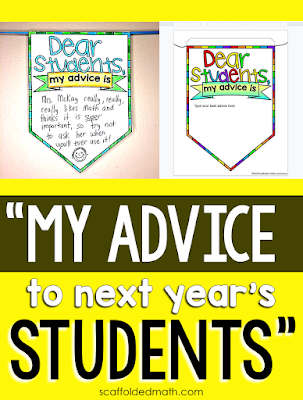 "Older students love mentoring younger students! They love feeling like a teacher and an authority on a subject-- any subject! So with this end-of-year activity, I considered these two perspectives. Younger kids are longing for guidance on what to expect in their new classrooms and from their new teachers and older kids are excited to give their best advice. This is not a new activity in my tpt store. It's been in there for a few years. But like a lot of my math activities, I updated this ""My Advice to Next Year's Students"" pennant with a digital GOOGLE Slides version this year."