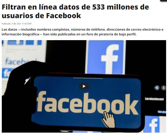 Filtran datos de 7 millones de cuentas de Facebook chilenas