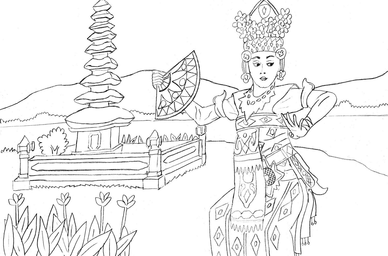 Gambar Mewarnai Penari Tarian Bali Colouring Bali Dancer