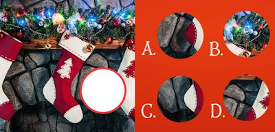 Figure: Can you find the right piece to complete these Christmas stockings?