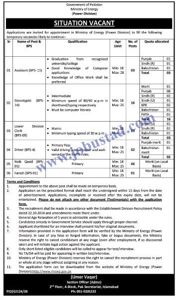 Jobs in Ministry of Energy Latest Advertisement 2020
