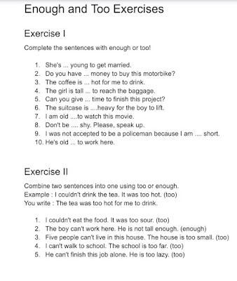 Enough and Too Exercises/Worksheets