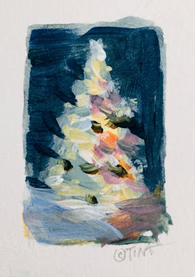 Tiny Christmas tree sketch,  1 x 1.5 inches, acrylic on paper, ©2020 TinaM.Welter