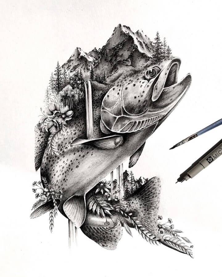 11-Carp-Alyse-Dietel-Animal-Drawings-Surrealism-www-designstack-co