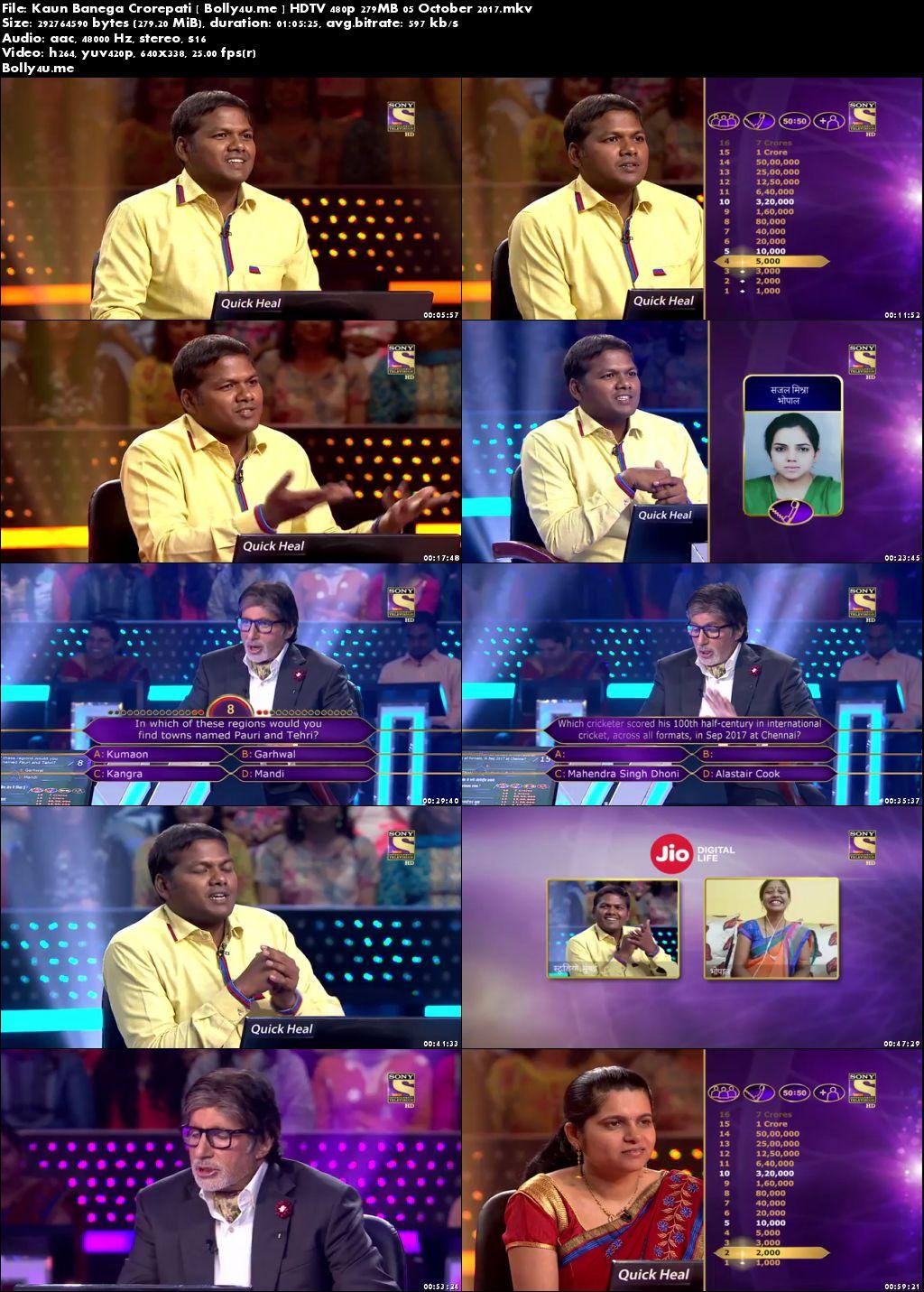 Kaun Banega Crorepati HDTV 480p 250MB 05 October 2017 Download