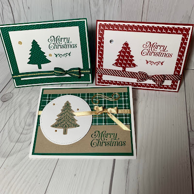 Three Christmas Cards using Perfectly Plaid Stamp Set