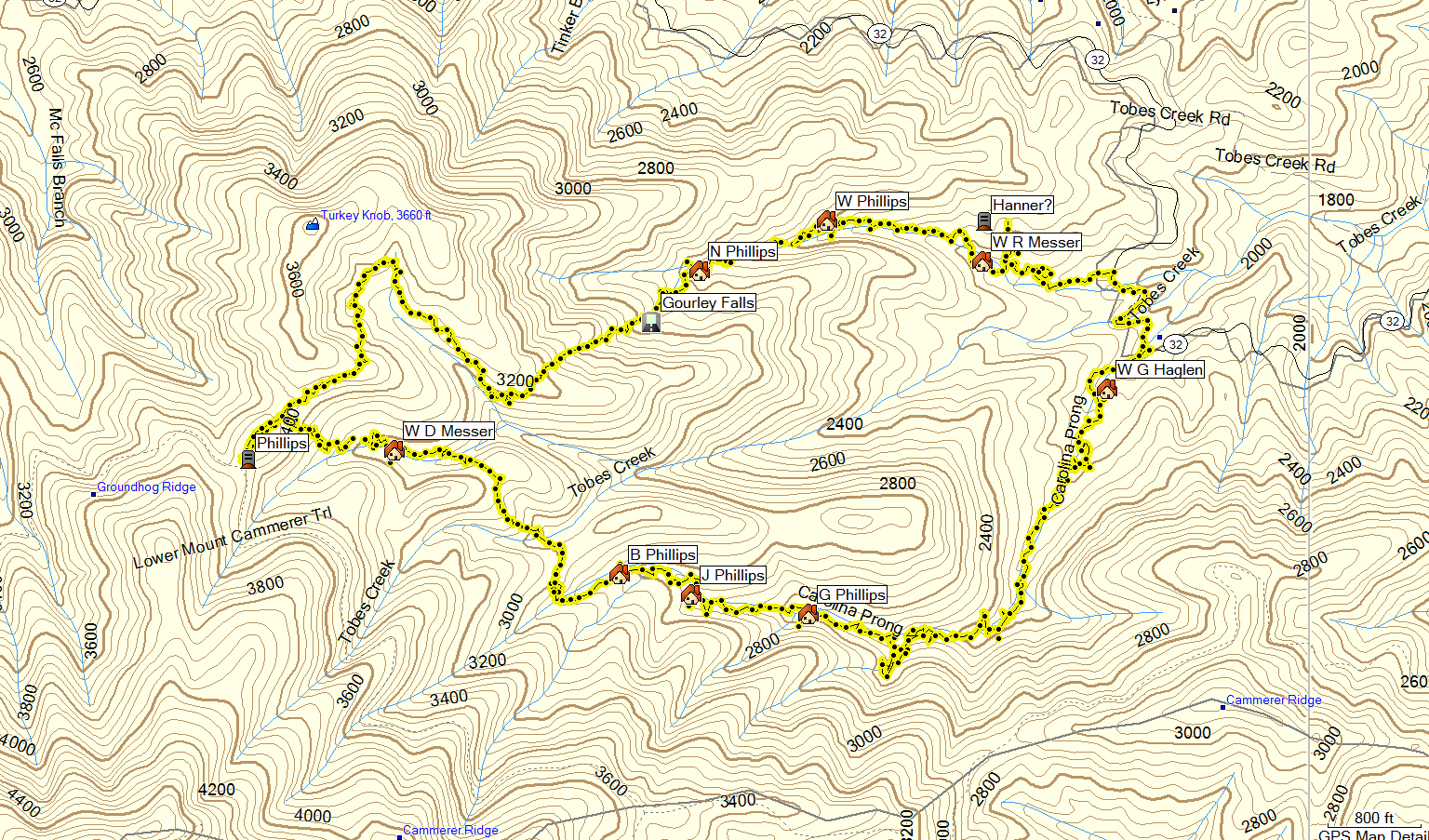 we stopped briefly at the jonas phillips cemetery and then headed up carolina prong hopefully you read mike k s blog and here is the map of the hike