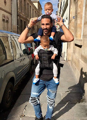 Adil Rami with his twins' son