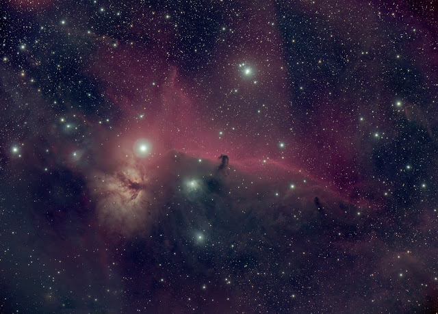 IC 434 or Barnard 33 - The Horsehead Nebula in the constellation Orion imaged on the Veloce 200 AT f/3 (AFIL-5) from Hakos, Namibia. Image processed by Utkarsh Mishra. Luminance 10 x 5 min., Red, Green, and Blue each 5 x 5 min.