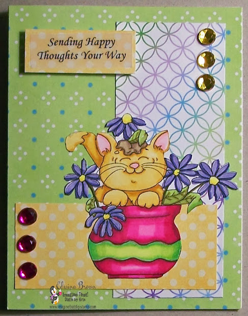 Edwina' Creations Imagine Kitty In Flowers Card