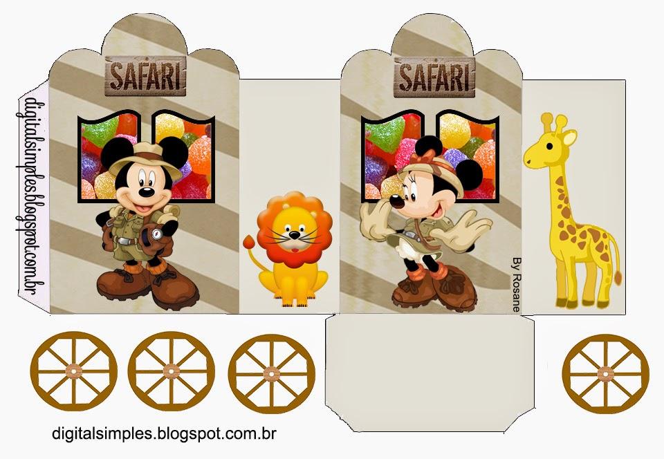Mickey y Minnie de Safari: Caja con forma de Carruaje para Imprimir Gratis.