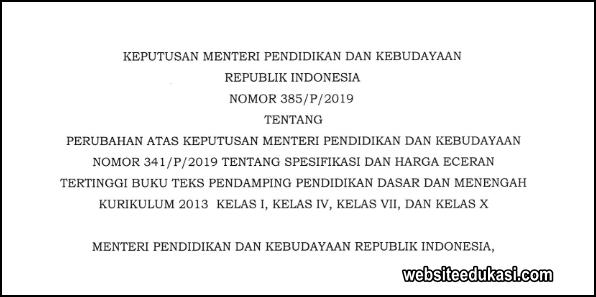 Kepmendikbud 385/P/2019, HET Buku K13 Kelas I, IV, VII, dan X