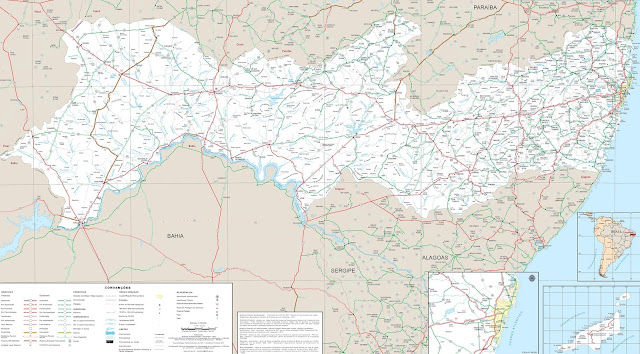 Mapa rodoviário de Pernambuco