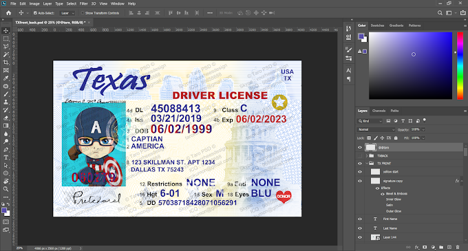 TEXAS DRIVER LICENSE EDITABLE PSD TEMPLATE