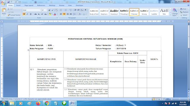 Download Contoh KKM PJOK SD Kelas 2 semester 1Kurikulum 2013 doc