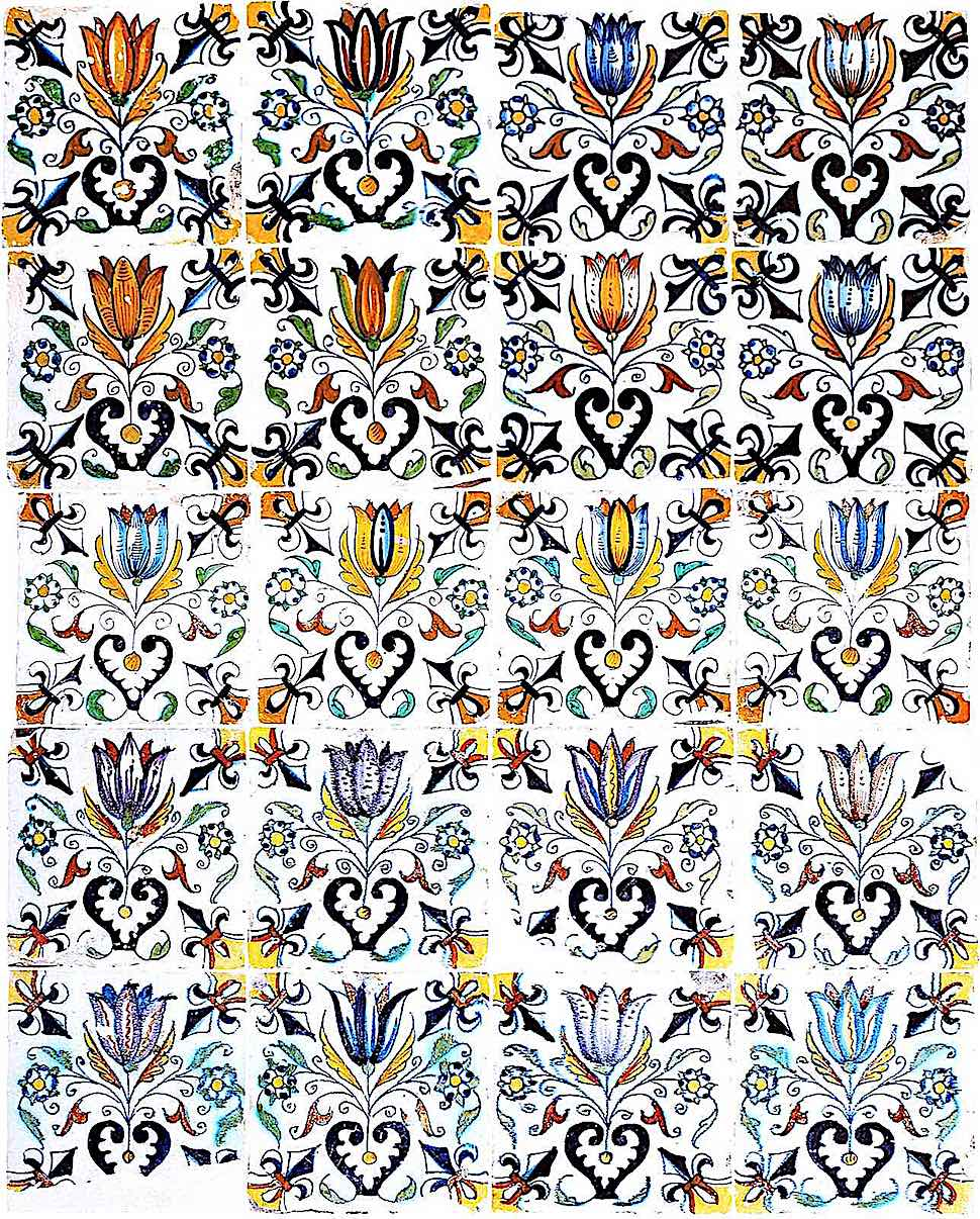 1600 Dutch tiles in color