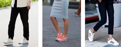 ténis brancos com calças pretas e blazer branco; ténis rosa com saia pencil azul; ténis brancos com calças pretas pelo tornozelo