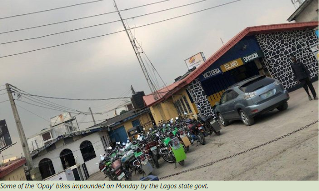 Lagos State Govt Impounds Trucks Of 'Opay' Motorcycles