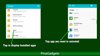 uninstall app from settings