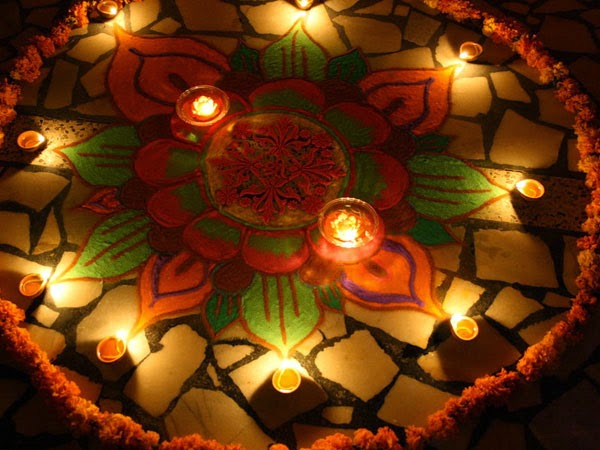 Rangoli Designs and Patterns with Lamps for Diwali 20