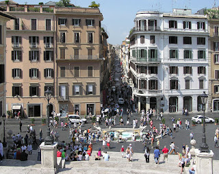 Rome's Via Condotti, viewed from the city's landmark Spanish Steps