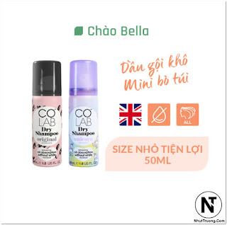 COLAB DRY SHAMPOO ORIGINAL mini size Dầu Gội Khô Colab Hương Nguyên Bản size mini 50ml