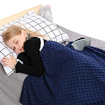 50% OFF 4pcs set 7 lbs Weighted Blanket For Kids with Removeable Duvet Covers +Weighted Sleep Mask
