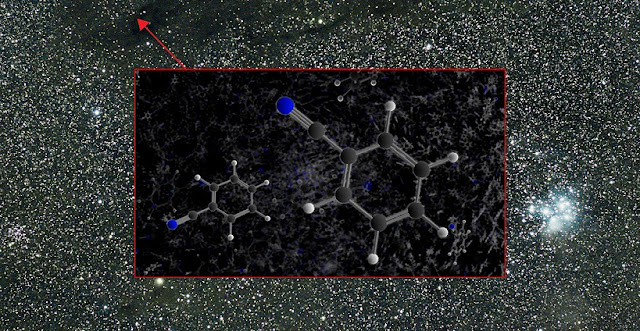 The aromatic molecule benzonitrile was detected by the GBT in the Taurus Molecular Cloud 1 (TMC-1). Credit: B. McGuire, B. Saxton (NRAO/AUI/NSF)