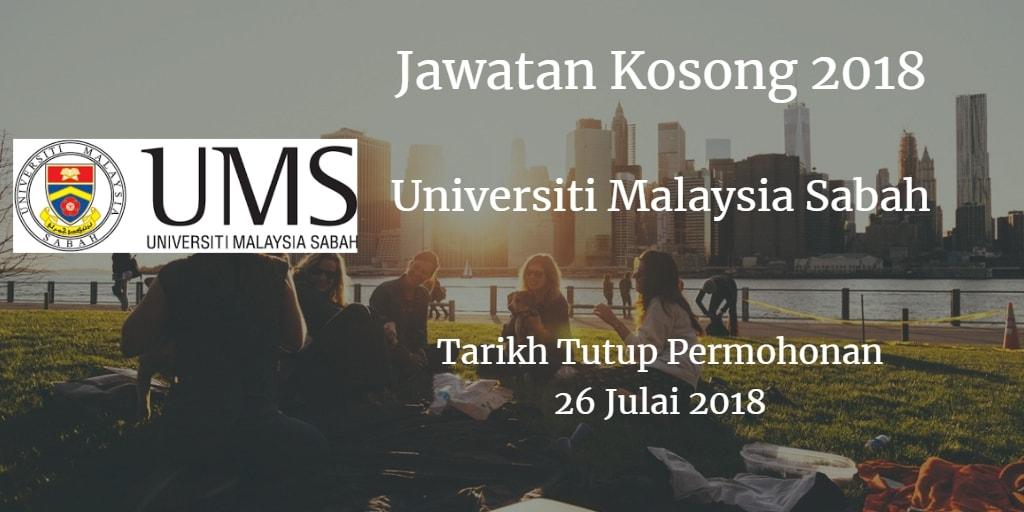 Jawatan Kosong UMS 26 Julai 2018