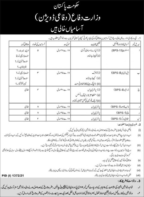 Latest Today jobs-Ministry of Defence Jobs in Pakistan 2021