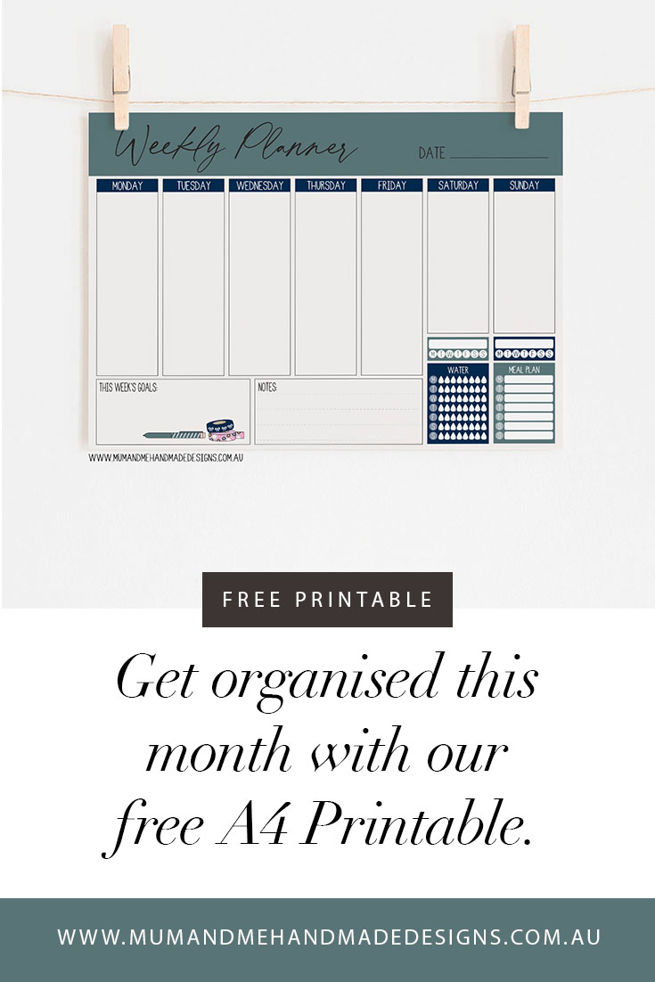 Free PDF A4 Weekly Planner Printable by Mum and Me Handmade Designs