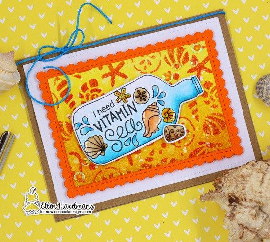 Vitamin Sea card by Ellen Haxelmans | Message in a Bottle and Vitamin Sea Stamp Sets and Seashells Stencil by Newton's Nook Designs #newtonsnook #handmade