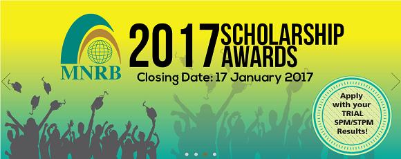 Permohonan Biasiswa MNRB 2017 untuk pelajar cemerlang SPM dan STPM