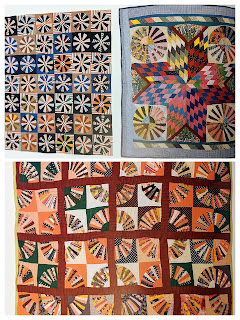 Three pages of quilt photos from Rod Kiracofe's book show three examples of fan and wheel blocks made into improvisational quilts