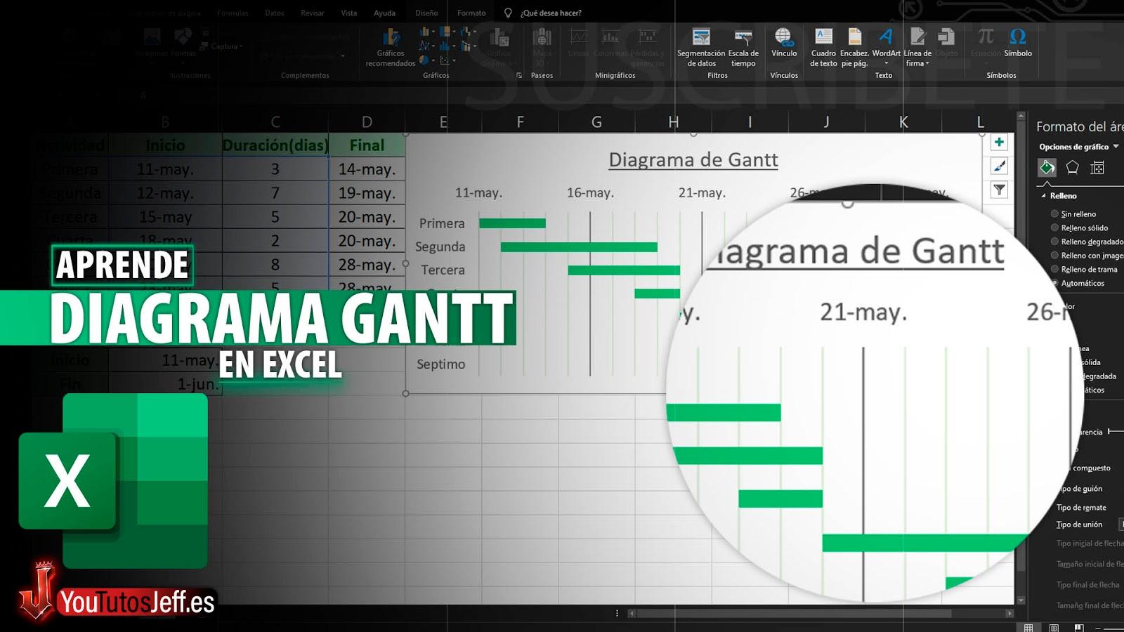 Como Hacer un Diagrama de Gantt o Cronograma Utilizando los Gráficos en Excel