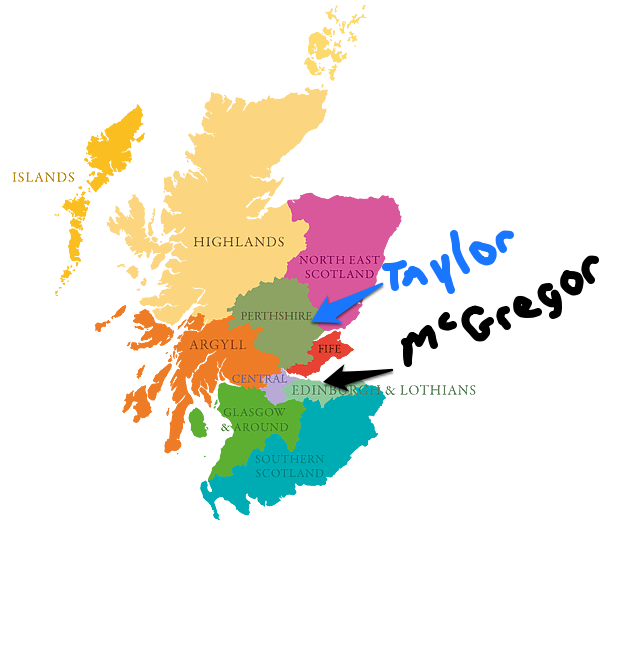 Climbing My Family Tree: Map of Scotland & my people's home areas