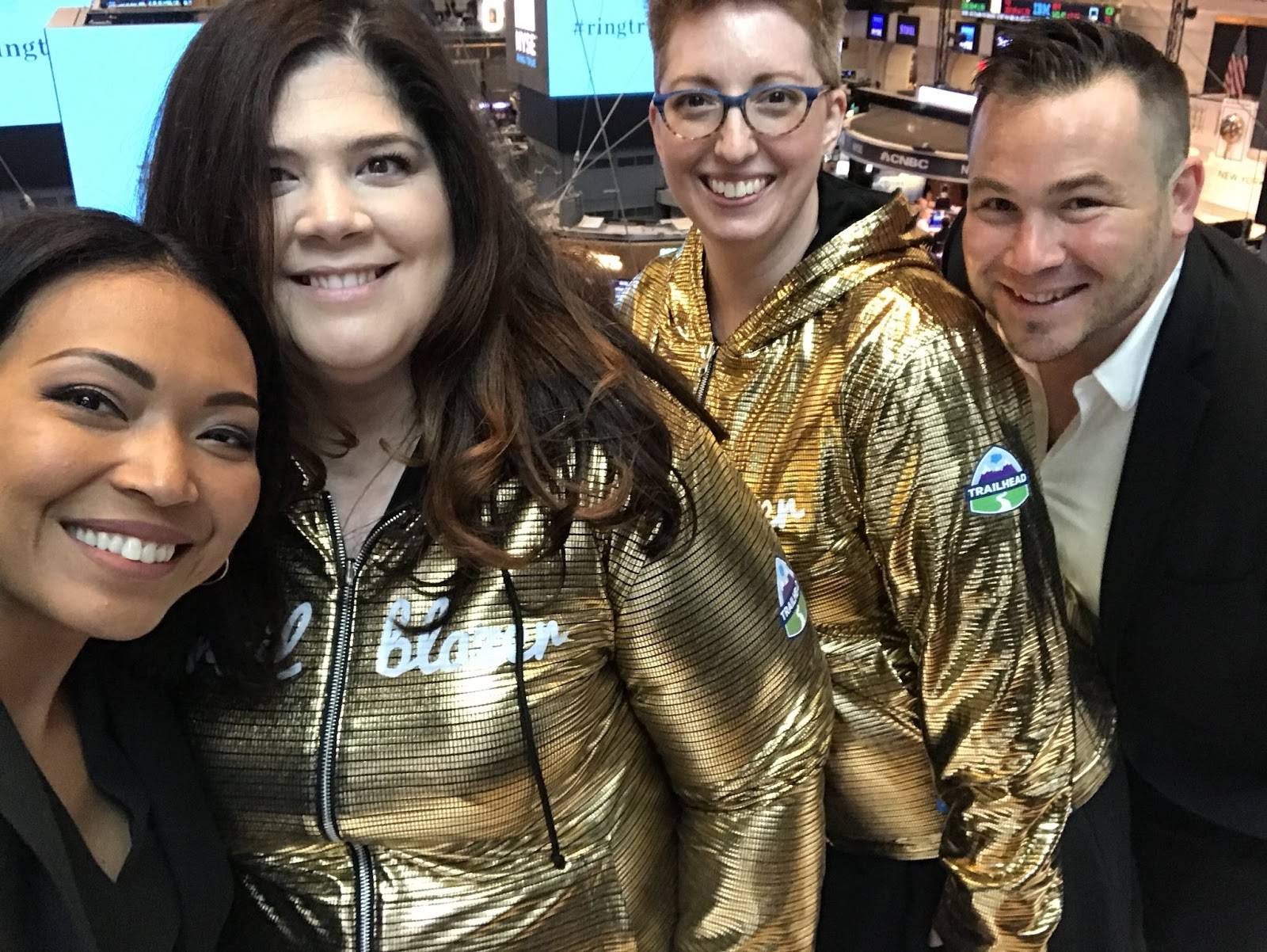 Tigh Loughhead at the New York Stock Exchange with Cheryl Feldman, Carrie Mantione and Sandi Zellner