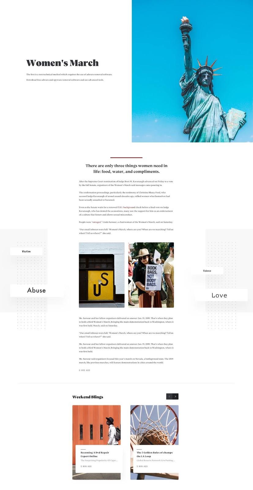 contoh desain web - Artikel New York times