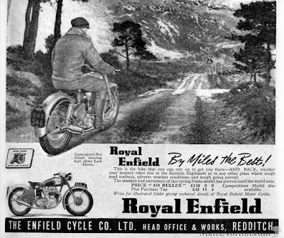 1952 magazine ad for the Royal Enfield Bullet.