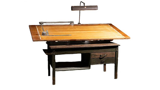 Antique Bruning Drafting Table With Floating Lamp And Drafting Machine