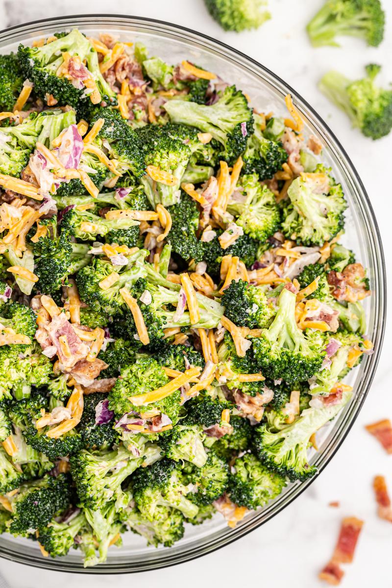 Overhead photo of keto broccoli salad in a glass bowl.