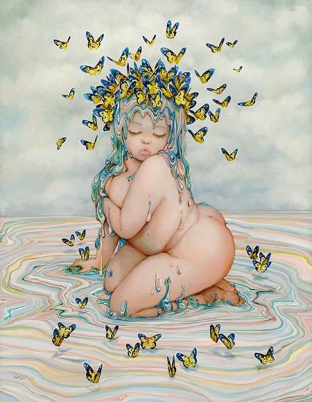 "Camilla d'Errico, ""Godiva"" - oil on wood panel | obras de arte pop contemporaneo, pinturas, surrealismo pop, art pictures inspiration | art selecta"