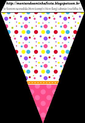 Banderines de Puntos de Colores para Niña para imprimir gratis.