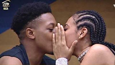 #BBNaija New Housemate, Jon Lock Lips with Sexy Tboss as Mr Nigeria Visits