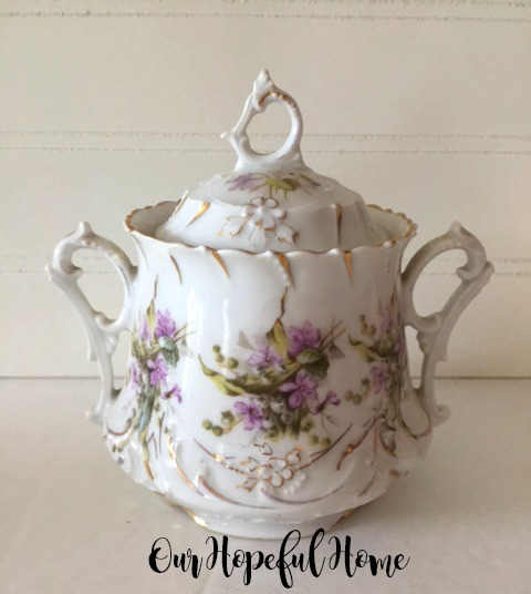 C.T Germany floral sugar bowl
