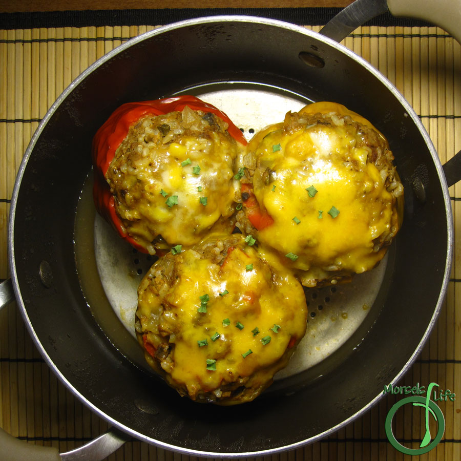 Morsels of Life - Taco Stuffed Peppers - Ground beef, flavored with taco seasoning and onions, then stuffed into bell peppers for some Taco Stuffed Peppers.