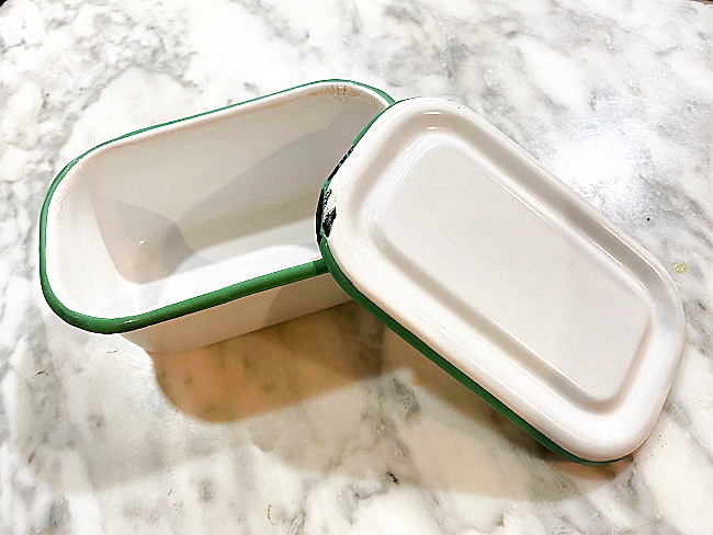 Green Enamelware DIY Butter Dish